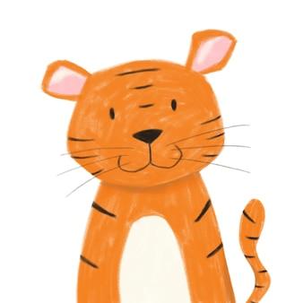 귀여운 오렌지 호랑이 그림입니다. 포스터, 카드, 베이비 샤워, 디자인 및 장식을 위한 보육 삽화. 어린이, 어린이 위한 흰색 배경에 고립 된 디지털 동물 이미지.