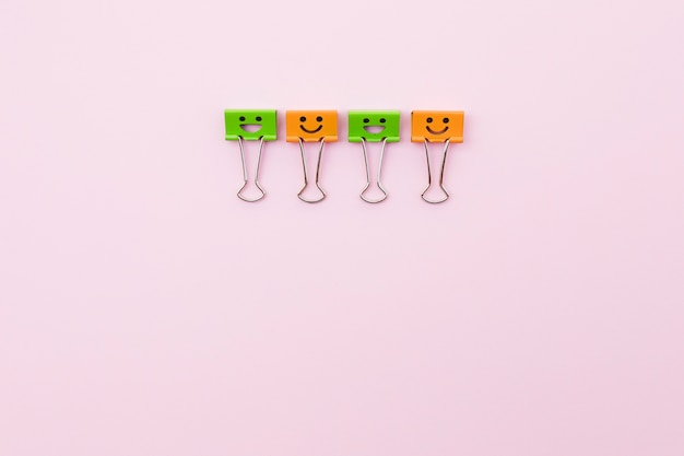 Cute paper clips with smiley faces