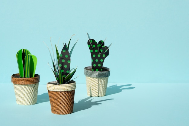 Cute paper cut style of artificial cacti