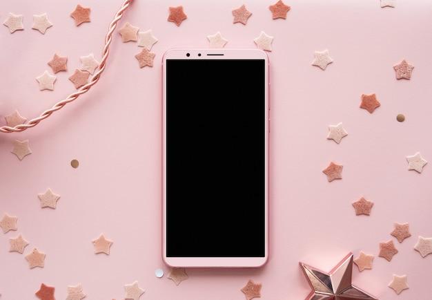 かわいいピンクの背景電話モックアップ垂直