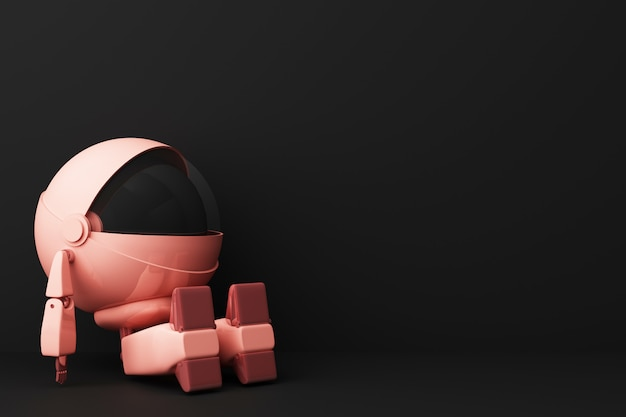 Cute pink robot sitting and look up on black 3d rendering