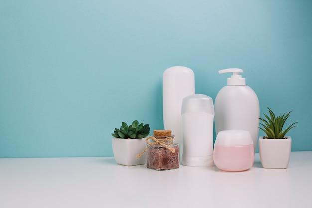 Cute plants near cosmetics bottles