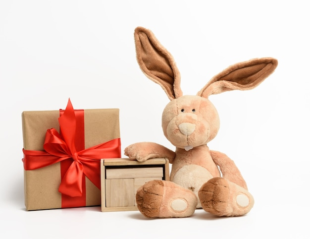 Cute plush rabbit and a box with a gift tied with a red silk ribbon, white background