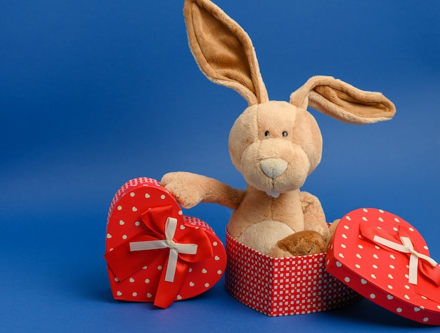 Cute plush rabbit holding a gift box tied with a red silk ribbon, blue wall