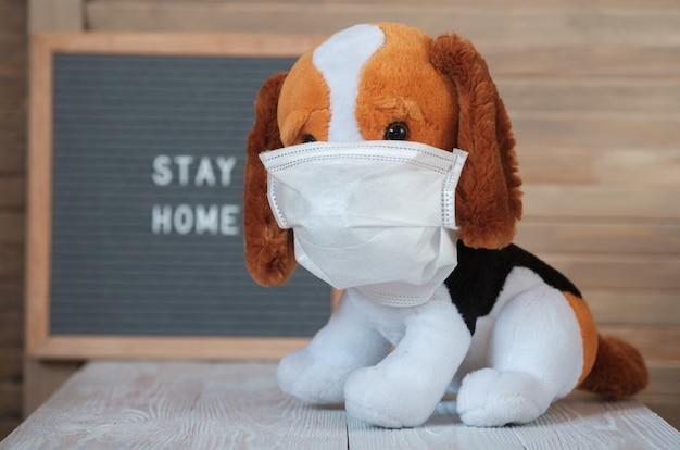 テキスト検疫のある看板の上に医療用マスクをかぶったかわいいぬいぐるみのビーグル犬は家にいます。コロナウイルスとの戦いの避妊