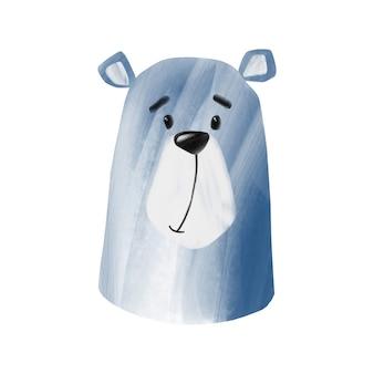 Cute polar bear illustration isolated on white background digital hand drawn blue bear clip art