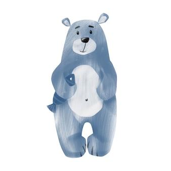 白い背景で隔離の魚のイラストとかわいいホッキョクグマ手描き青いクマのクリップアート