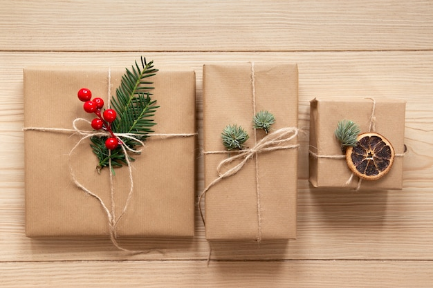 Cute presents on wooden background