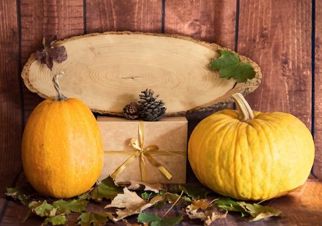 Cute pumpkins and natural wood