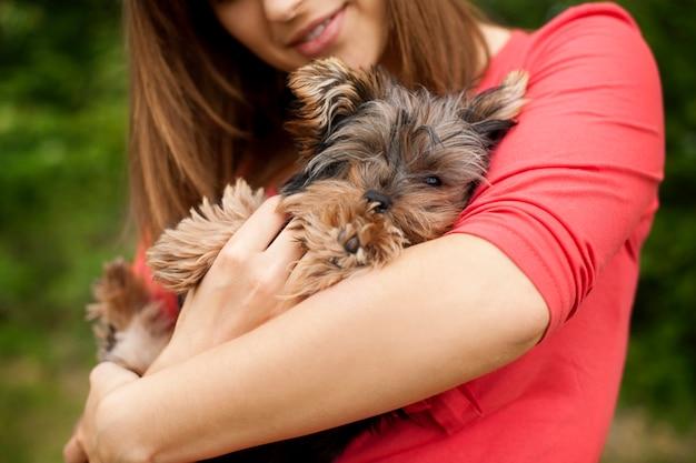 Cucciolo sveglio sulle braccia della donna