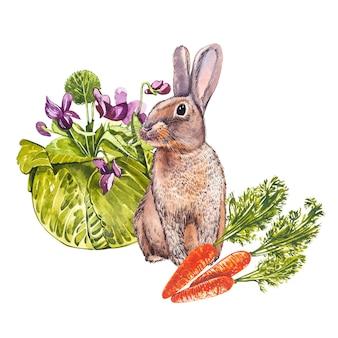 かわいいウサギの動物の水彩イラスト
