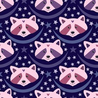 パジャマのデザインや眠りのパーティーの装飾のための青い背景に紫とピンクの紫の色のかわいいアライグマ。