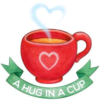 Cute red tea cup with green bow and heart steam