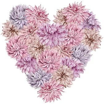 アスターの花で作られた心でかわいいロマンチックなカード