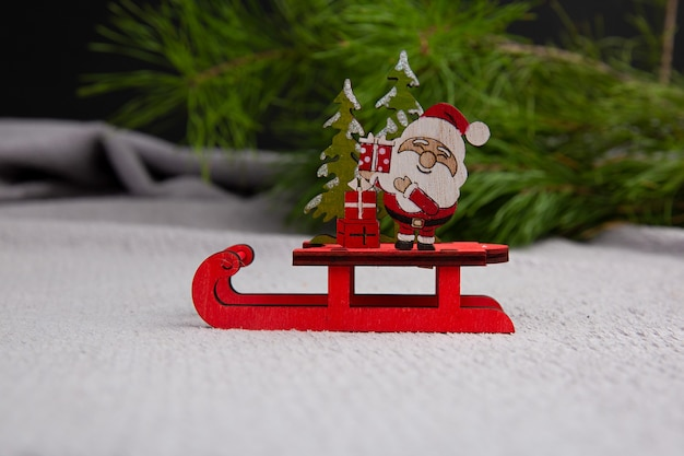 Cute santa  sitting on a sled concept of christmas happy new year postcard