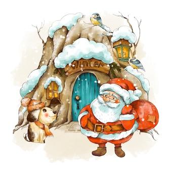 귀여운 산타, 겨울 개, 빈티지 크리스마스 인사말 카드. 우드랜드 동화 집은 눈으로 덮여 있습니다. 휴일 그림입니다.