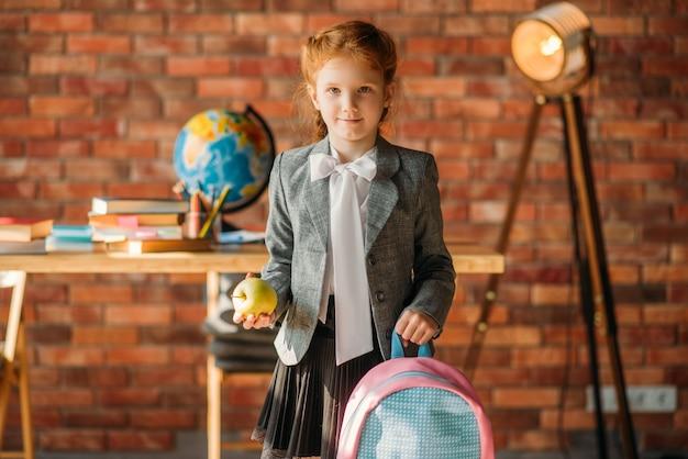 Schoolbag, 측면보기와 귀여운여 학생