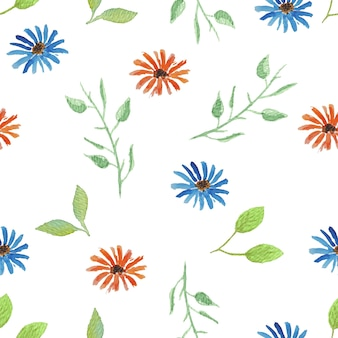 Cute seamless pattern with hand drawn watercolor tiny red and blue gerbera flowers and green leaves