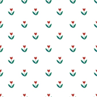 Cute seamless pattern with red tulips.