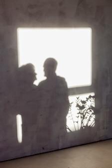 Cute shadow of senior couple in love