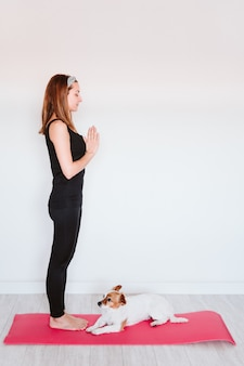 Cute small jack russell dog lying on a yoga mat at home with her owner woman