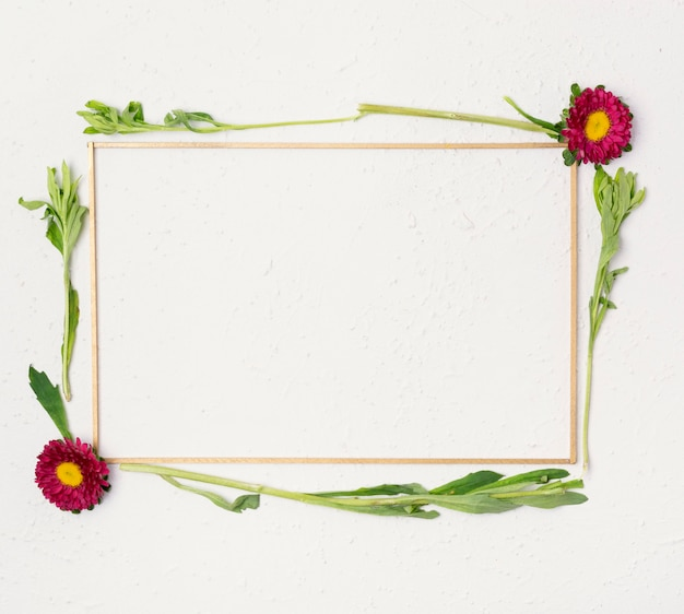 Cute small natural flowers frame flay lay