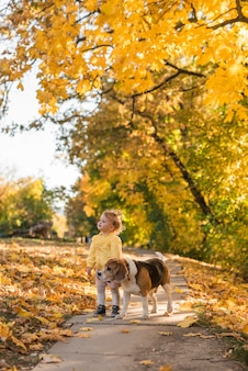 Cute smiling girl and her pet dog standing in walkway at park