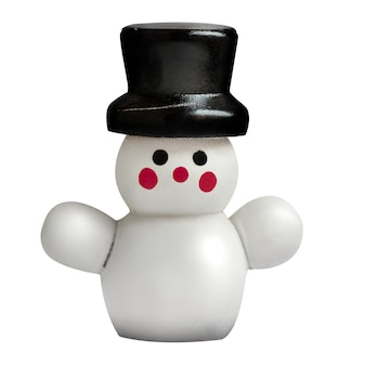 Cute snowman wearing black top-hat isolated on white background