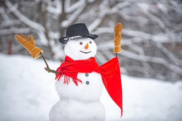 冬のクリスマスの風景に立っているかわいい雪だるま。雪だるまは毛皮の帽子とスカーフを着ています