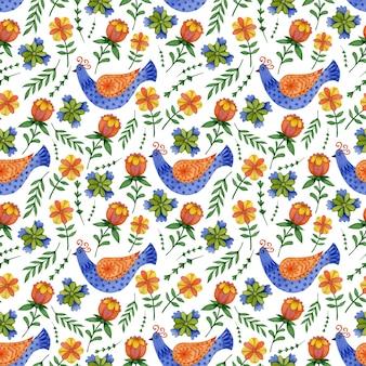Cute spring seamless pattern in folk art easter birds