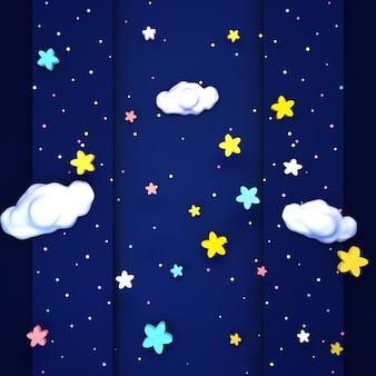 귀여운 별이 빛나는 밤 하늘 공예 3d 렌더링 된 그림