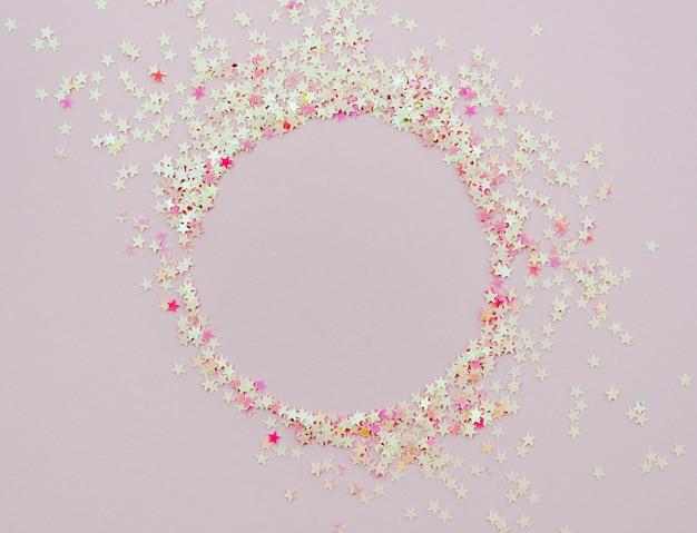 Cute stars confetti round frame