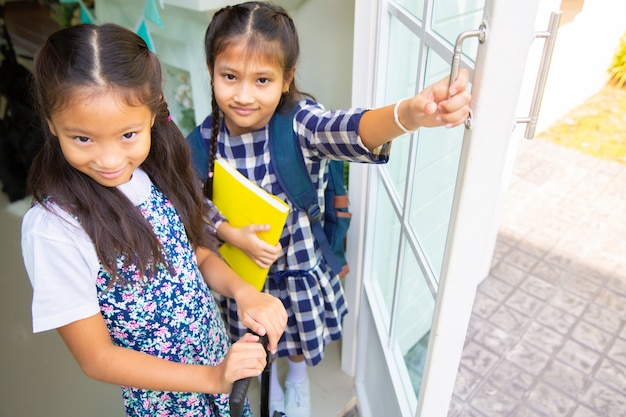 Cute student girl happy to go to school, back to school concept