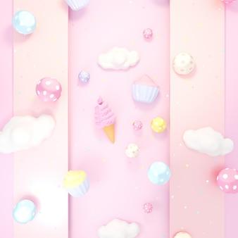 Симпатичные сладкие десерты фон 3d рендеринга