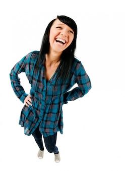 かわいい10代の少女は笑って