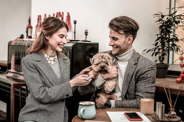 Cute terrier. woman touching a paw of her boyfriends dog