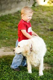 ゴールデンレトリバー屋外でかわいい幼児の金髪の少年