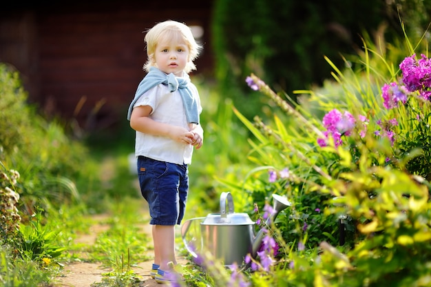Cute toddler boy watering plants in the garden at summer sunny day. little child with garden tools in domestic garden