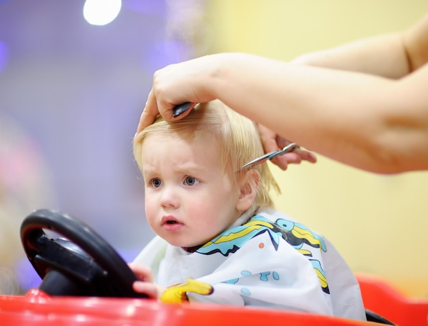 Cute toddler child getting his first haircut