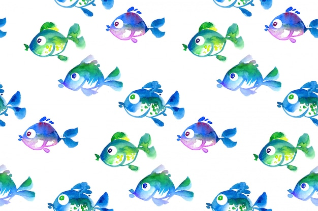 Cute tropical fish seamless pattern. watercolor hand drawn illustration