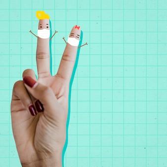 코로나바이러스 발병 사회적 템플릿 벡터 동안 귀여운 승리 손 기호