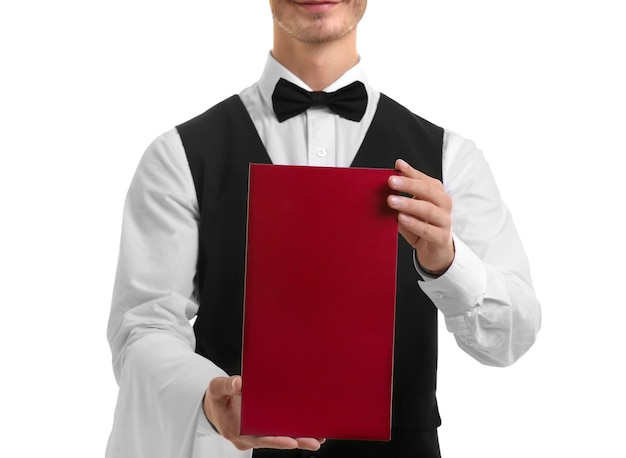 흰색 바탕에 빨간색 메뉴를 들고 귀여운 웨이터