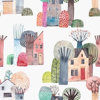 Симпатичный акварельный фон. старый городок. старые дома в окружении высоких деревьев.