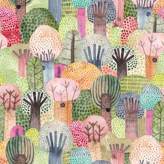 Симпатичный акварельный фон. детский лес бесшовные модели. идеально подходит для ткани, текстиля, обоев, детского сада.