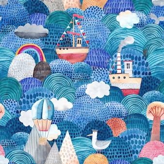 船、サンゴ礁、風船、雲とかわいい水彩画の背景。幼稚なシームレスパターン。