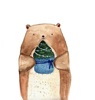 Cute watercolor bear holding christmas spruce tree