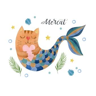 Симпатичная акварель кошка русалка на белом фоне иллюстрации