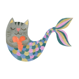 Cute watercolor cat mermaid isolated on white background illustration
