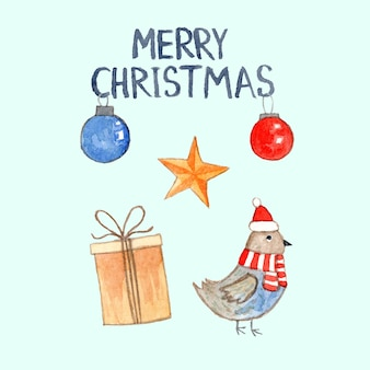 Cute watercolor christmas card with bullfinch santa, gift box, baubles and star