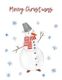 Милая акварельная рождественская открытка с забавным снеговиком и снежинками на белом фоне с поздравительным текстом
